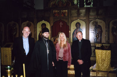 Vassula with Fr. Zavershinsky, Russian Orthodox Priest, Fr. Tom Stack, Catholic Parish Priest and journalist and Anglican Canon Desmond Sinnamon