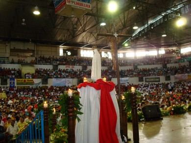 Our Lady of Fatima in the midst of the celebration