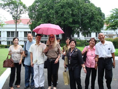 A happy Vassula and TLIG Philippines members leave Malacanang Palace