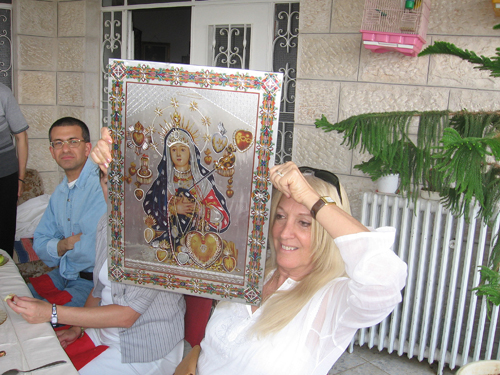assula and the Icon gift at Father Spyridon's house in Bethlehem