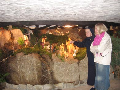 Chapel with cave inside; Nativity scene