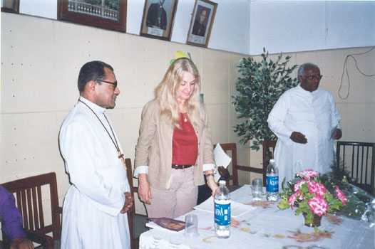New Delhi, India. Vassula with Archbishop Vincent Concessao, and Father Joseph Thomas after the meeting of many different Christian churches of all India. July 2005