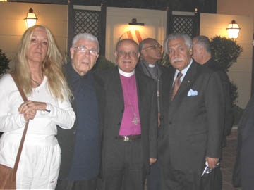 Vassula with Archbishop Boutros Mouallem, Bishop of Galilee, Archbishop Riah Abu El-Assal, Episcopal Church of Jerusalem and the Middle East, and Mr. Akel Biltaji, Advisor to the King Abdullah of Jordan