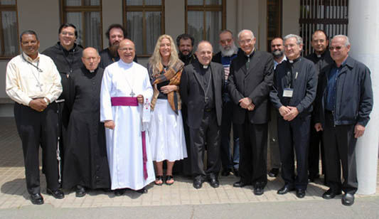 Left to right: Bishop Felix Toppo (India), Fr. Vincent Cosatti (Switzerland), Fr. Milheiro (Portugal)...